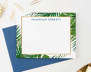 PS121 palm tree greenery border personalized thank you note cards women men elegant stationery 1