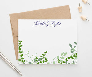 PS122 greenery vines personalized stationery sets women men green leaves bottom elegant 1