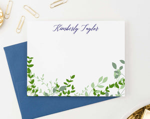 PS122 greenery vines personalized stationery sets women men green leaves bottom elegant 2