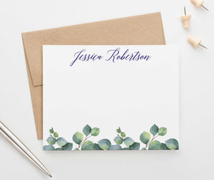 PS123 elegant personalized note cards with greenery women adult leaves green stationery 1