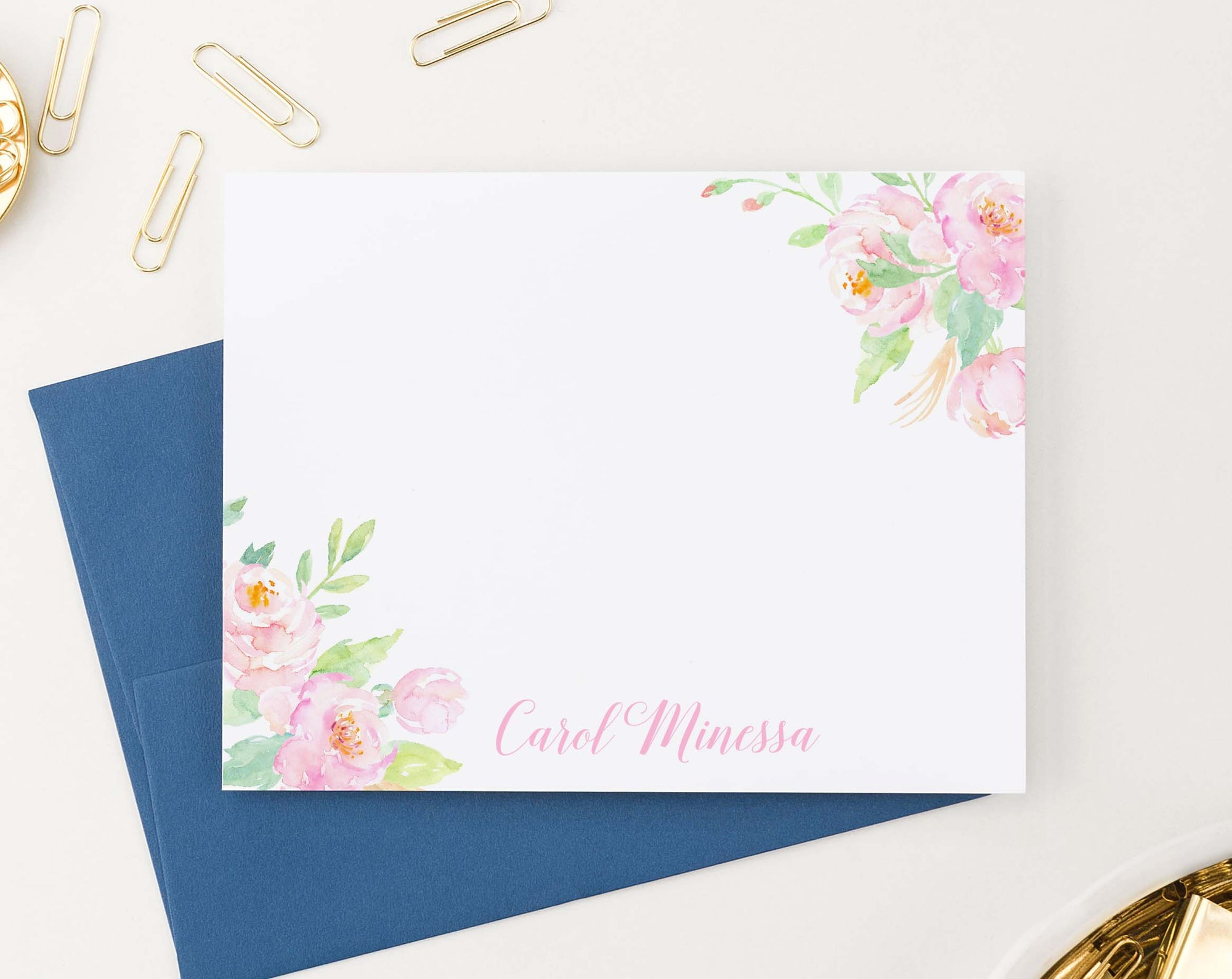 PS129 cute pink watercolor floral corners personalized stationery elegant script font