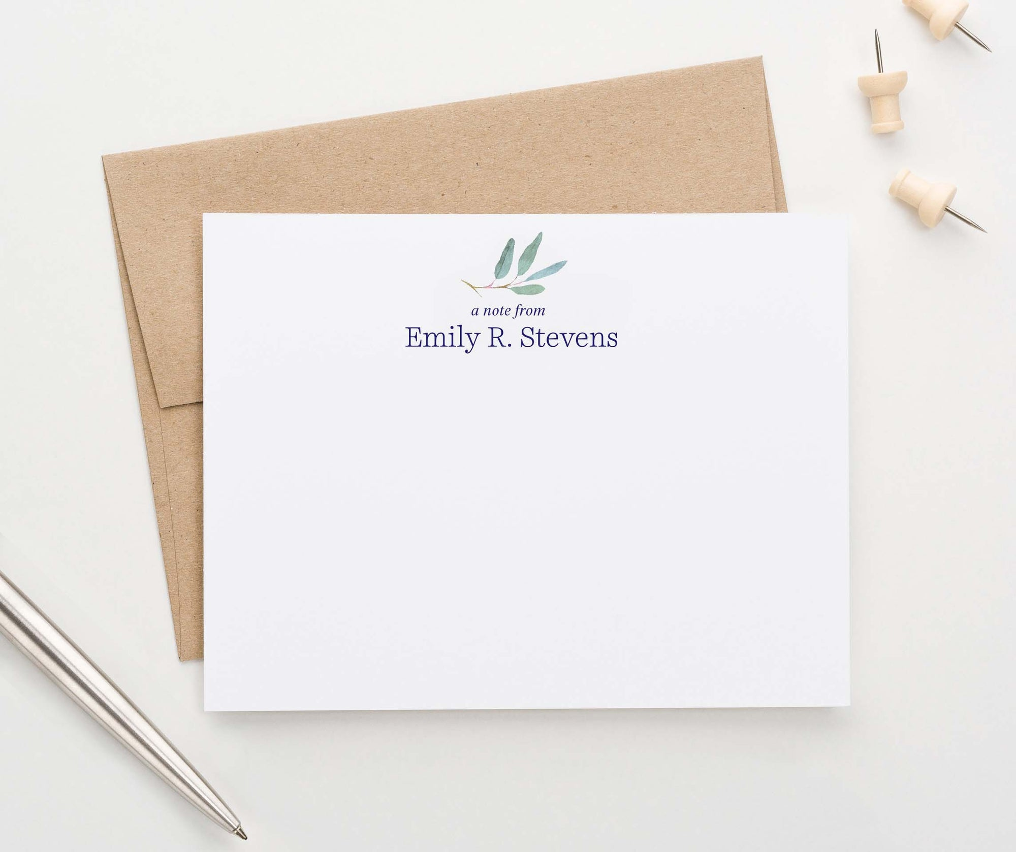 PS131 eucalyptus personalized stationery for women a note from plant greenery
