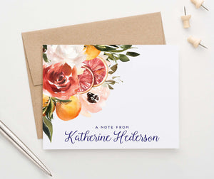 PS132 folded grapefruit citrus personalized stationery for women greenery elegant
