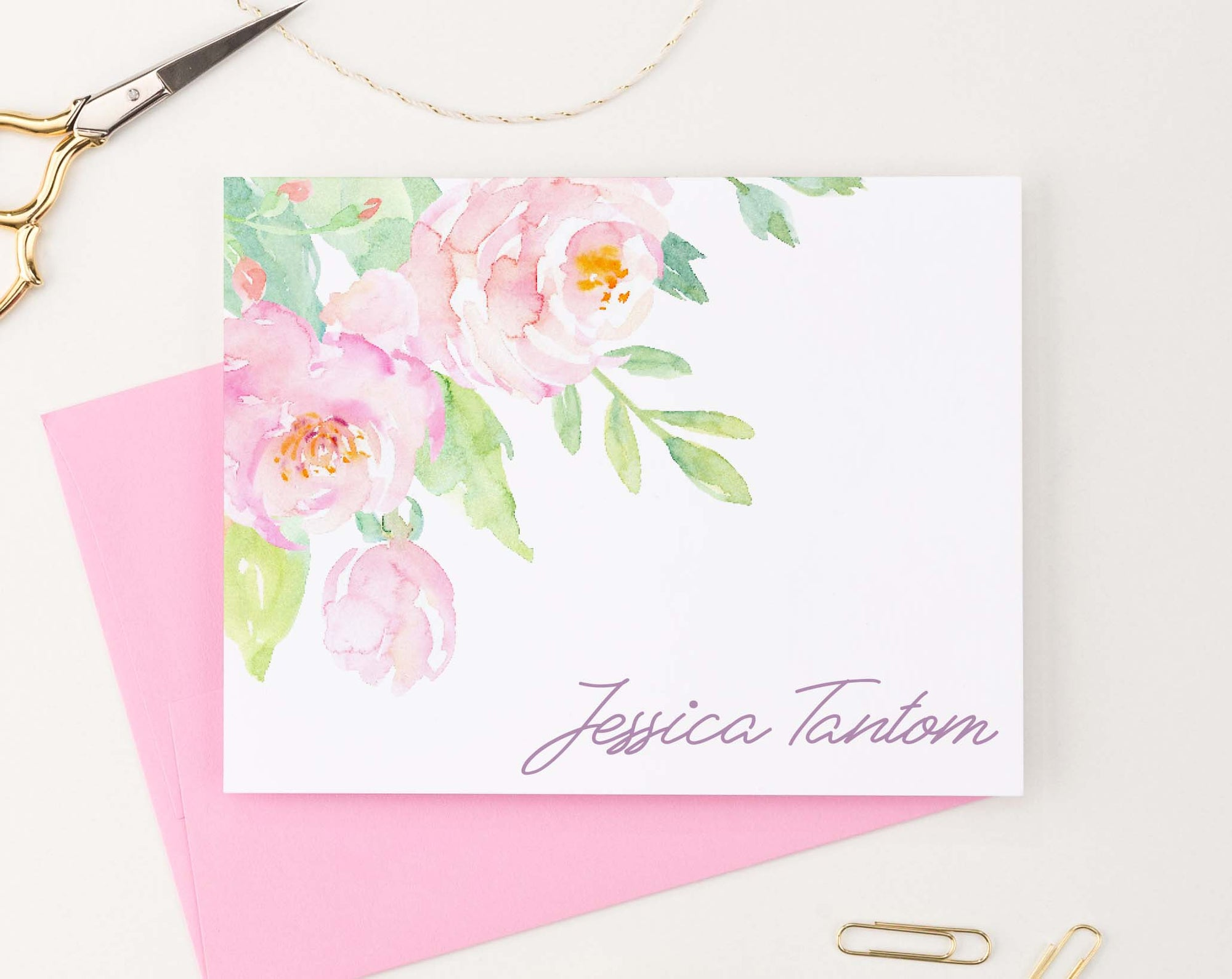 PS137 folded pink water color floral corner stationary personalized set watercolor elegant women 2