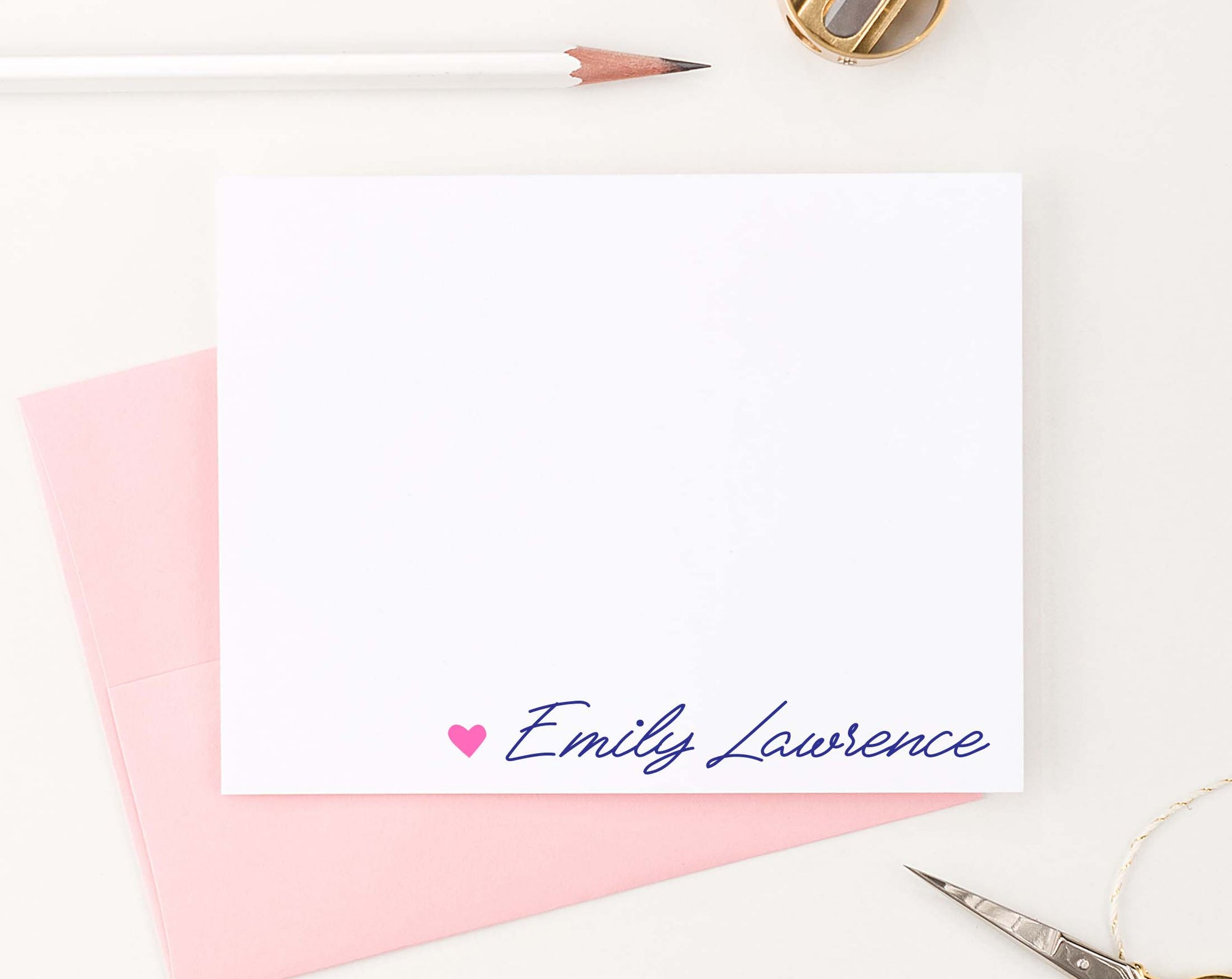 PS142 heart with script font personalized notecards set women elegant