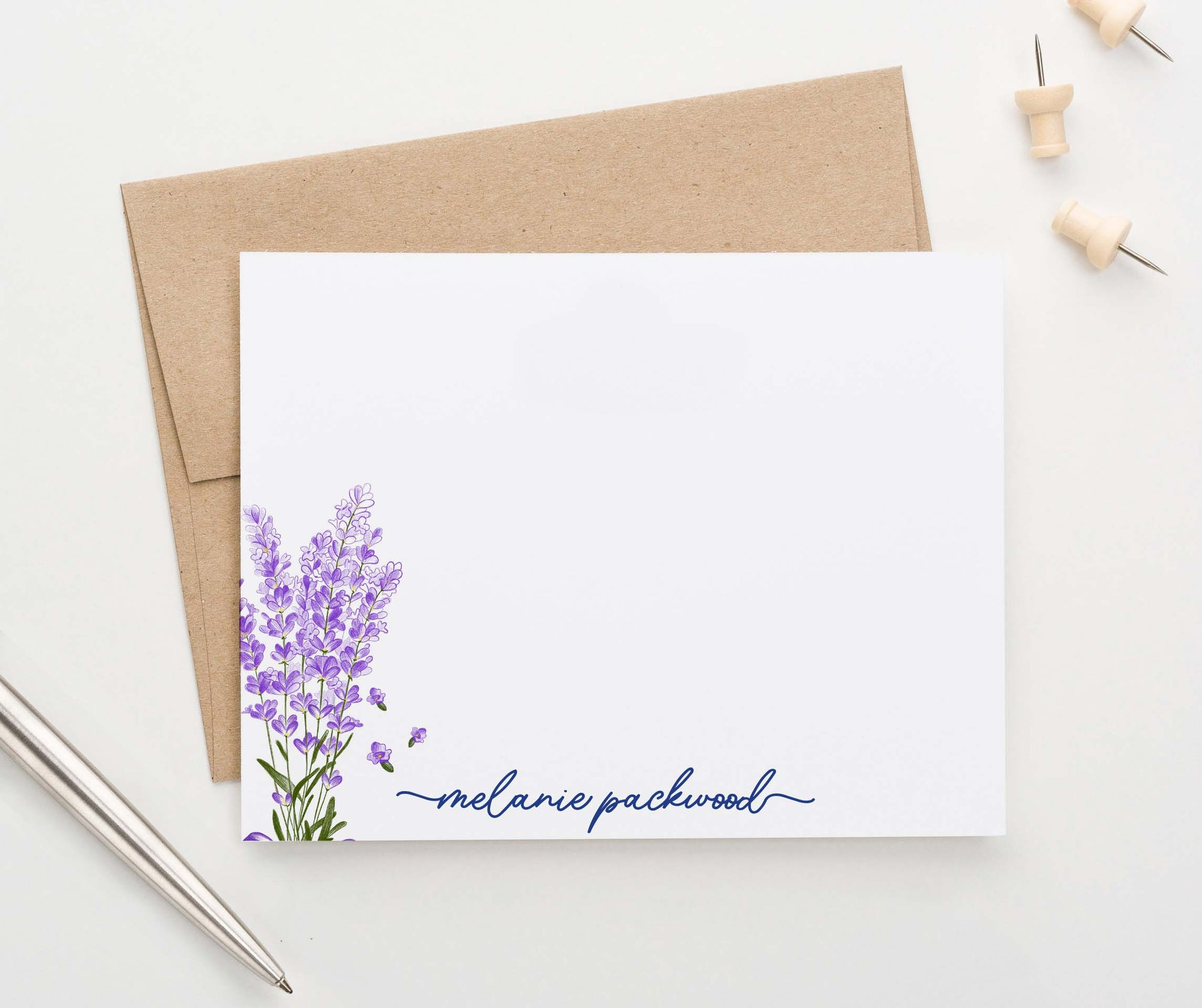 PS143 elegant lavender plant stationery personalized set modern purple