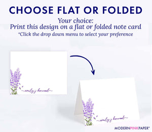 Elegant Lavender Plant Stationery Personalized Set