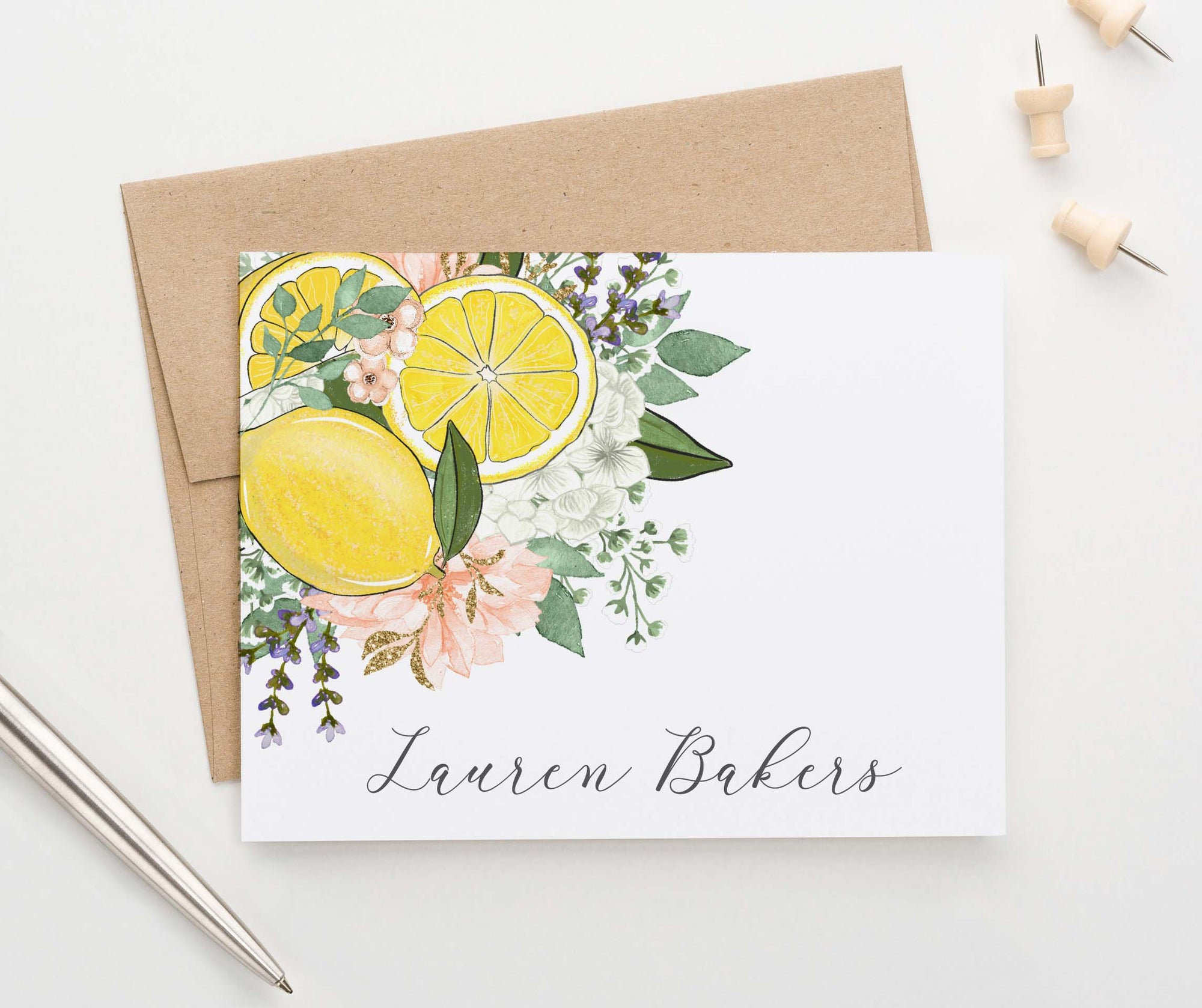 PS144 womens personalized lemon with florals folded stationery note cards