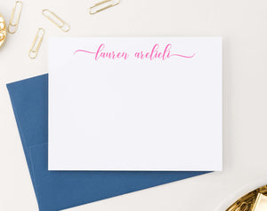 Personalized Elegant Script Womens Notecards