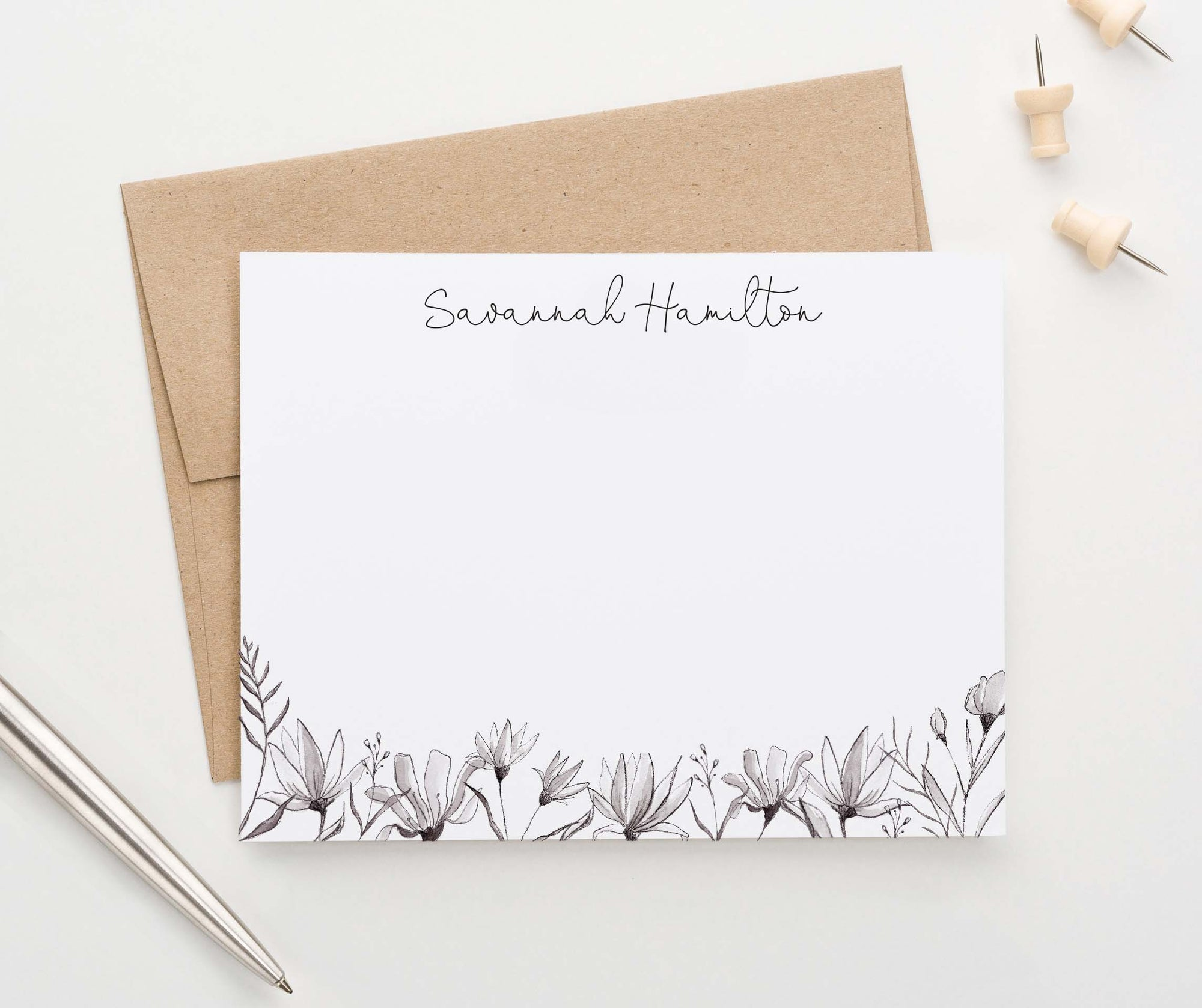PS148 classy black and white florals personalized stationery classic simple elegant set 1st photo