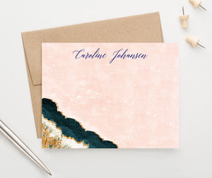 PS149 Personalized blue agate bottom corner flat stationary watercolor pink