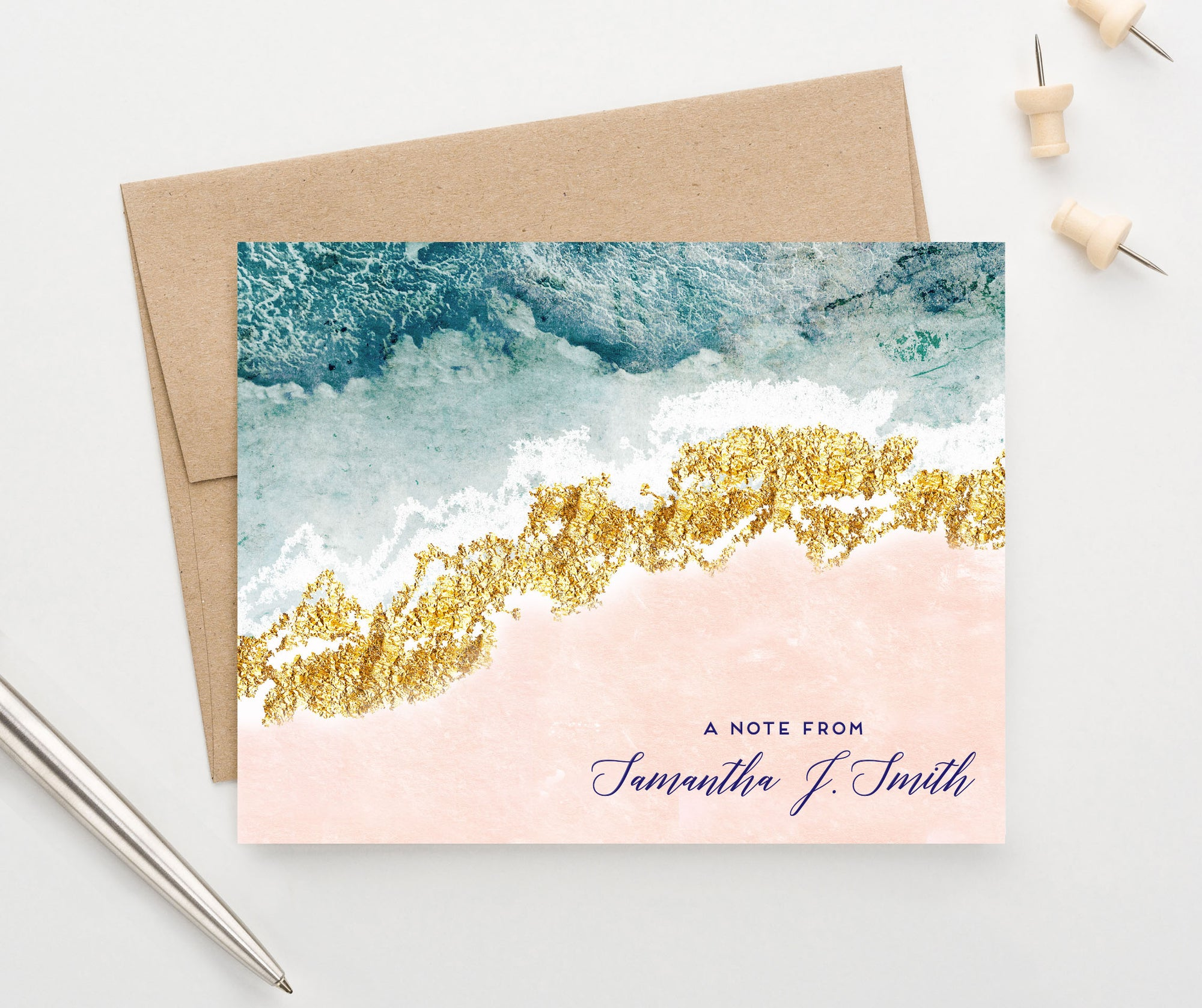PS150 Personalized A note From Blue Agate Folded Stationary Set elegant blue pink gold 2