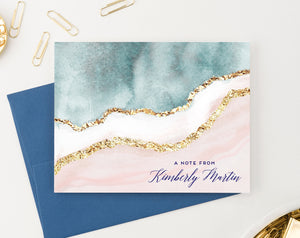 PS151 Elegant Blue and Gold Personalized Folded Note Cards pink a note from 2