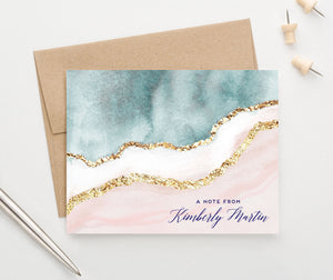 PS151 Elegant Blue and Gold Personalized Folded Note Cards pink a note from 3