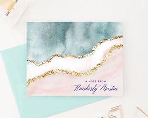 PS151 Elegant Blue and Gold Personalized Folded Note Cards pink a note from