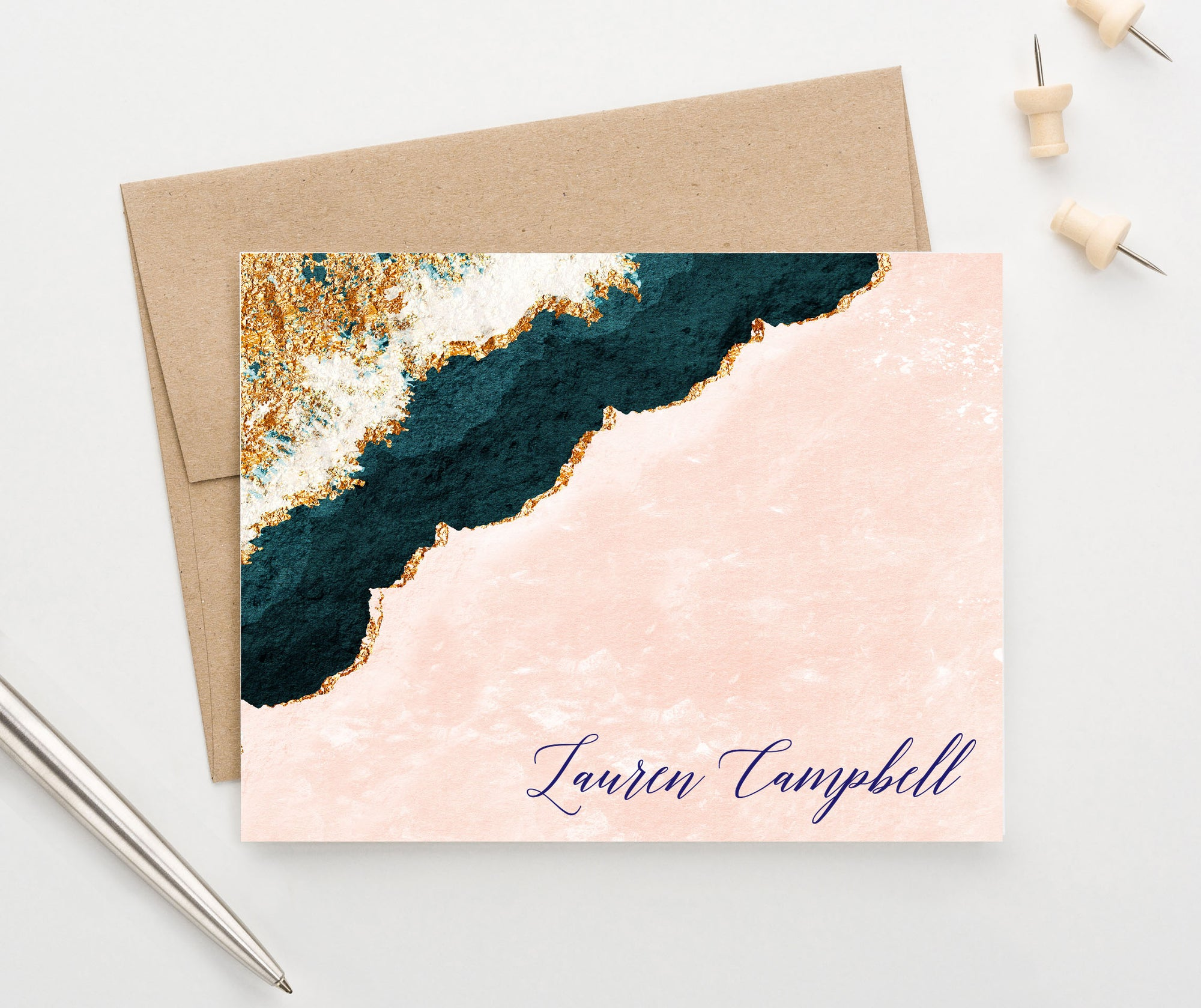 PS153 Personalized Folded Blue and Gold Agate Notecards for Adults pink elegant script