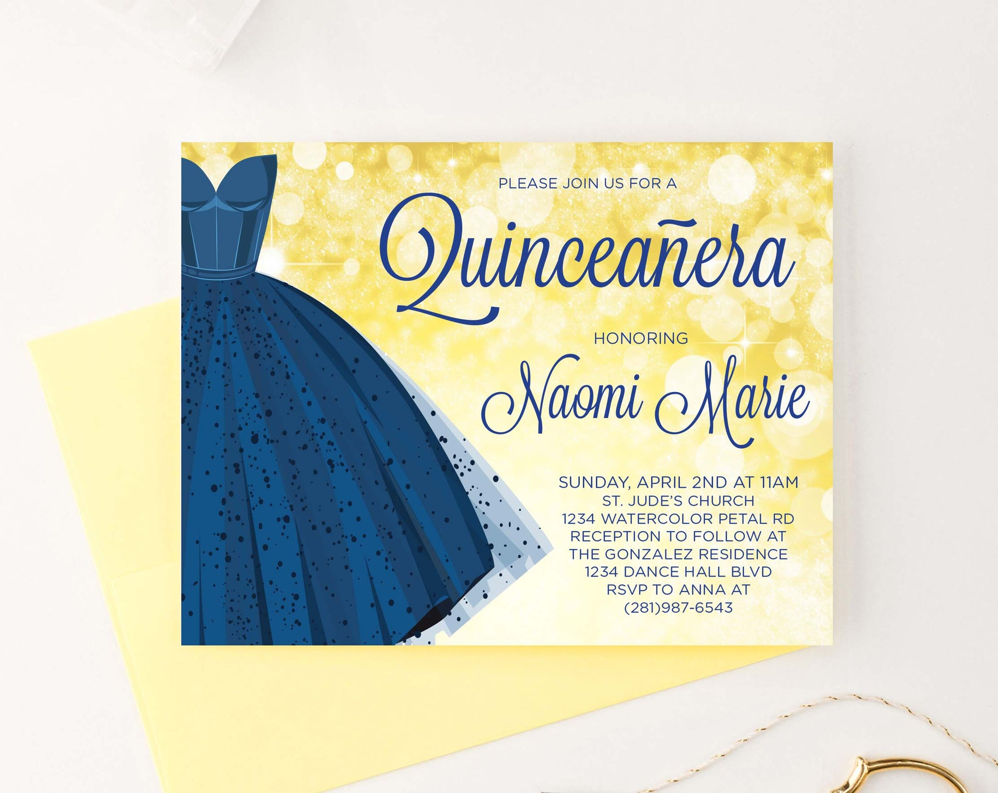 QI002 personalized quinceanera invite with blue dress gold elegant 2