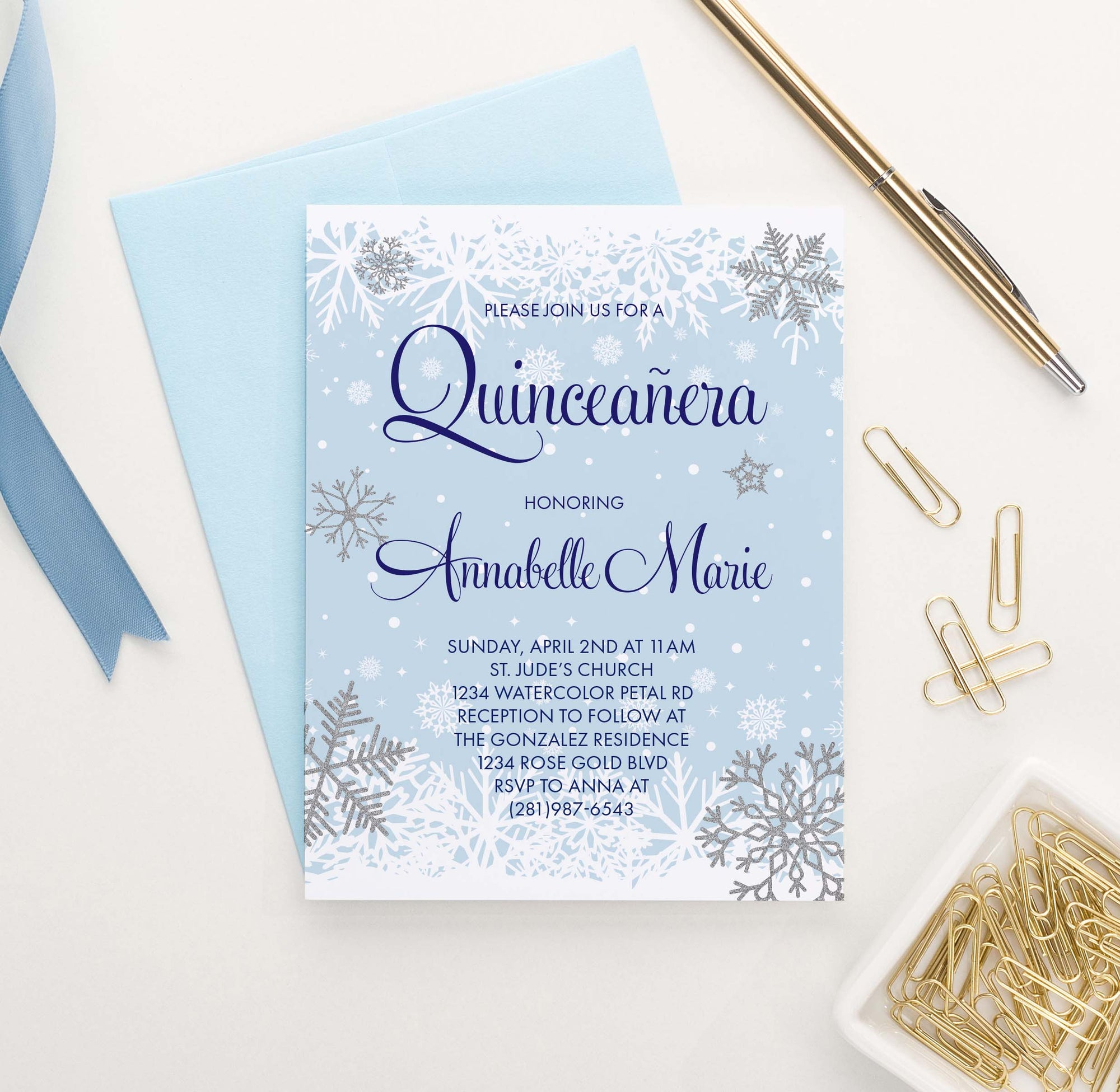 QI022 snowflake quinceanera invitation personalized winter elegant
