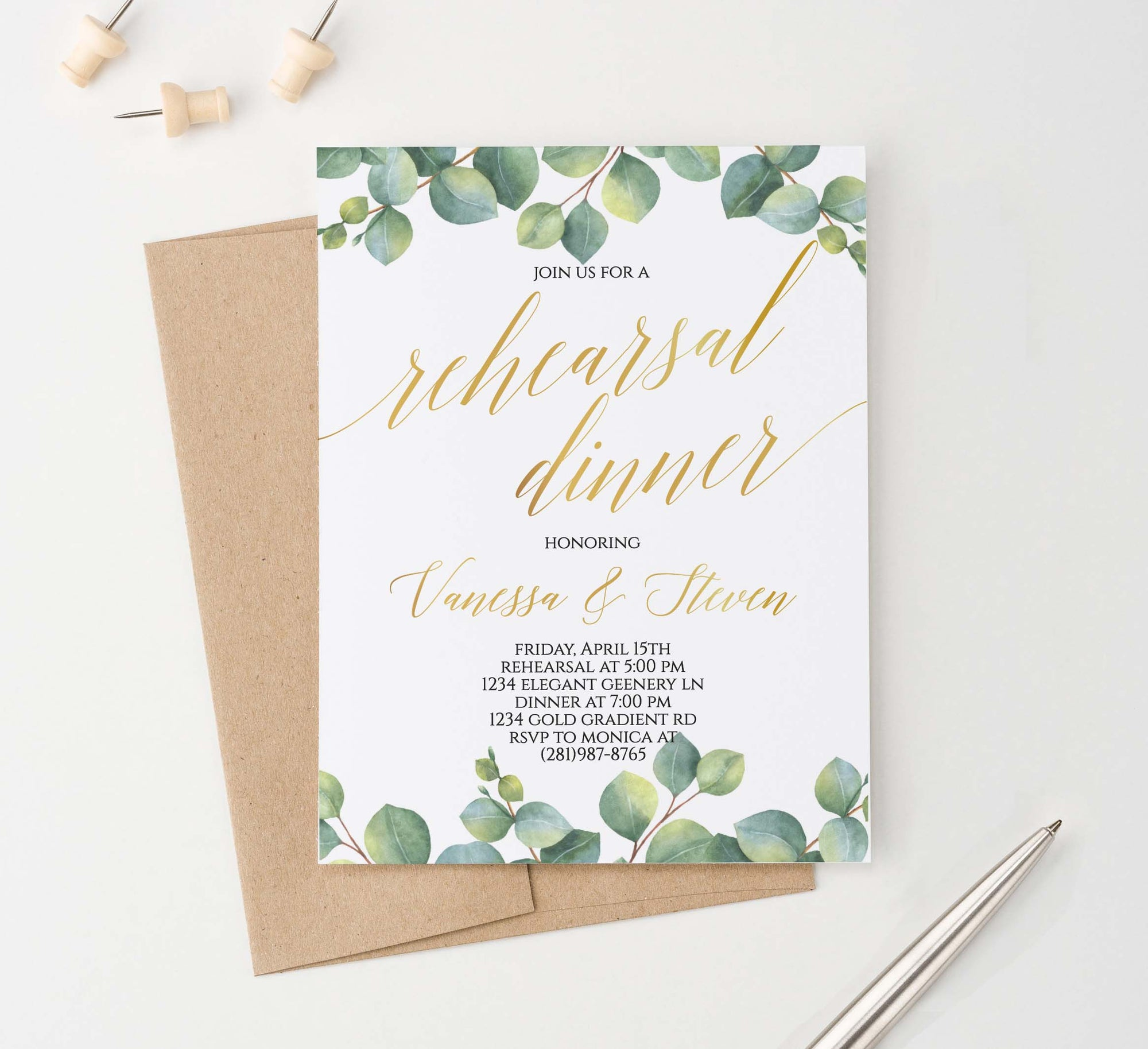 RDI010 elegant greenery rehearsal dinner invites personalized leaves leaf
