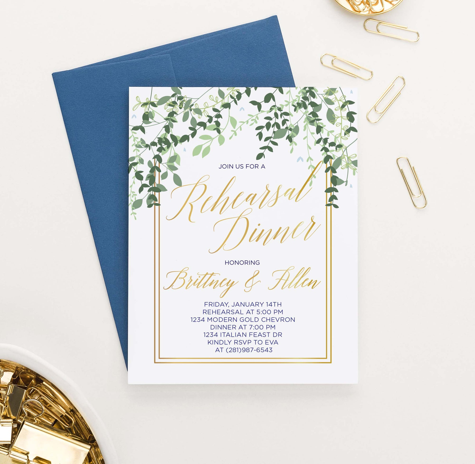 RDI011 greenery vines rehearsal dinner invites with gold border elegant gold leaves
