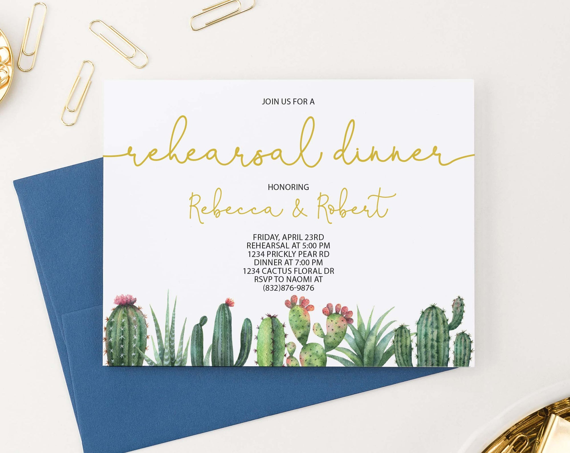 RDI019 personalized elegant rehearsal dinner invites with cactus succulents greenery