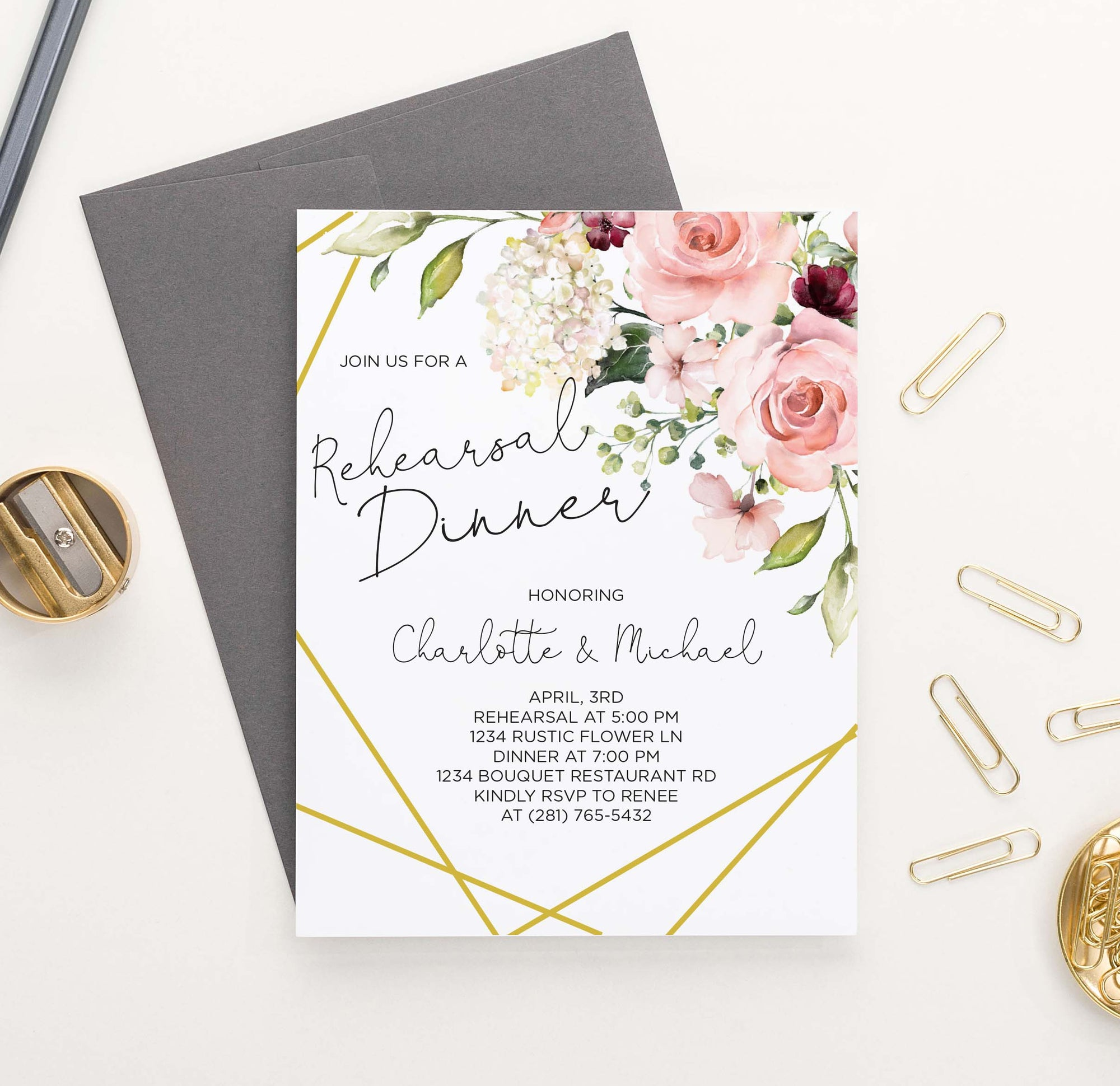 RDI025 floral corner rehearsal dinner invites with gold lines elegant florals