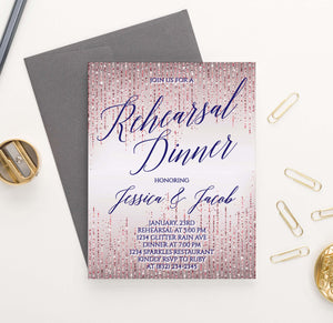 RDI027 rose gold glitter rehearsal dinner invites personalized navy sparkle 1