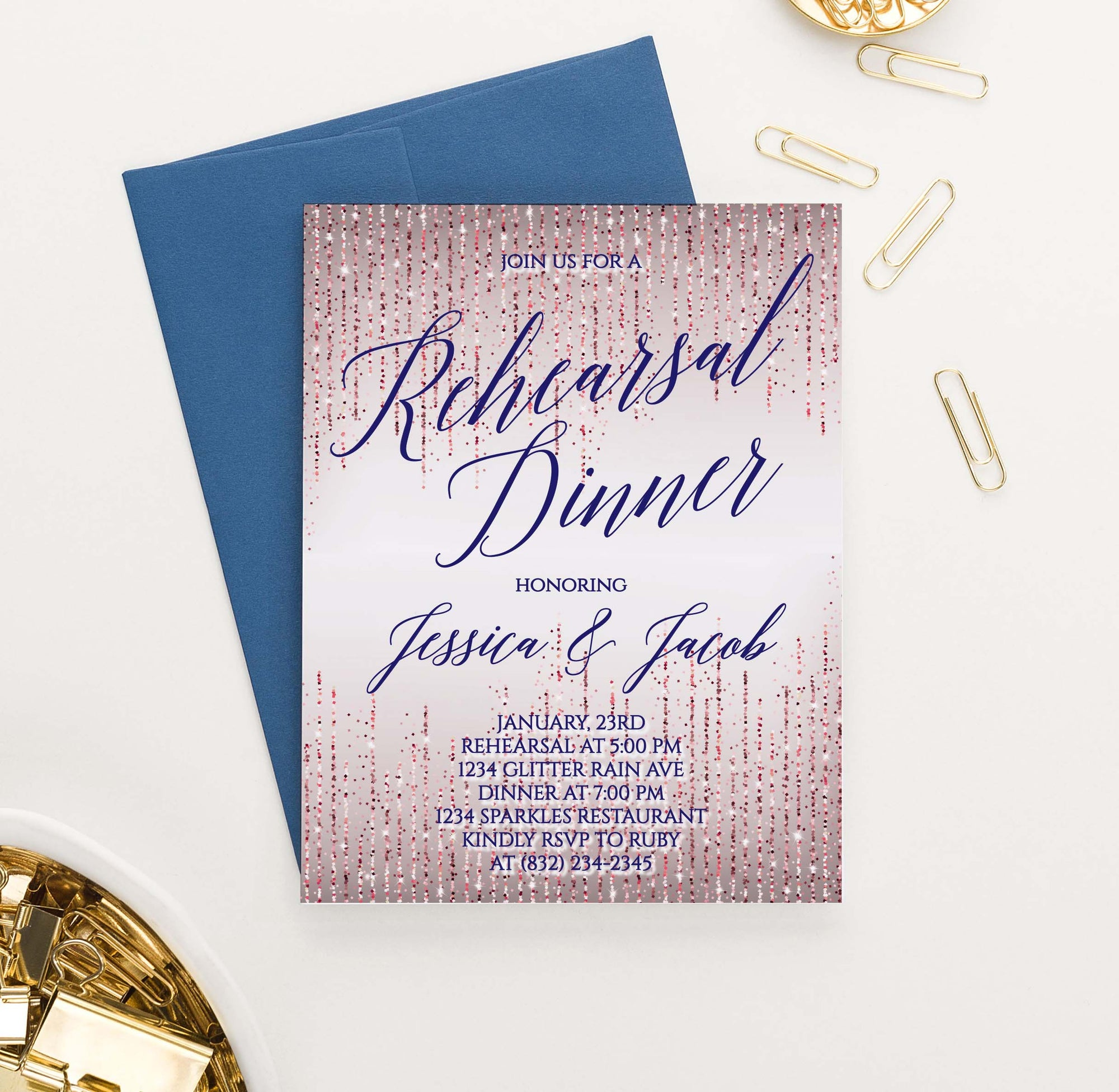 RDI027 rose gold glitter rehearsal dinner invites personalized navy sparkle