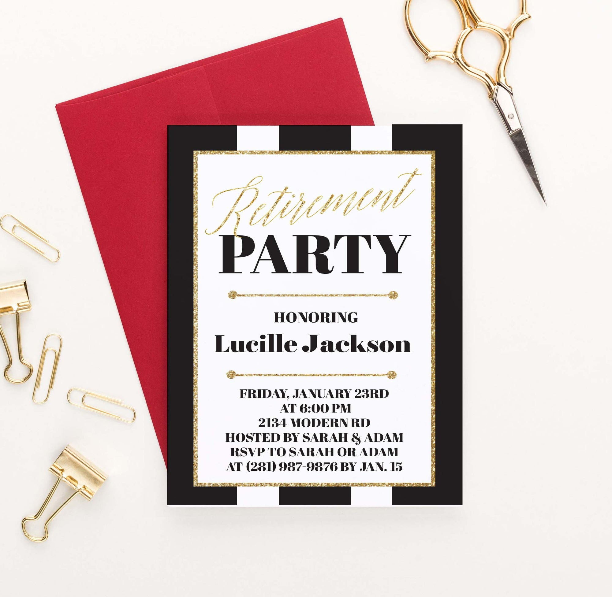 RPI001 black and gold personalized retirement party invitation elegant