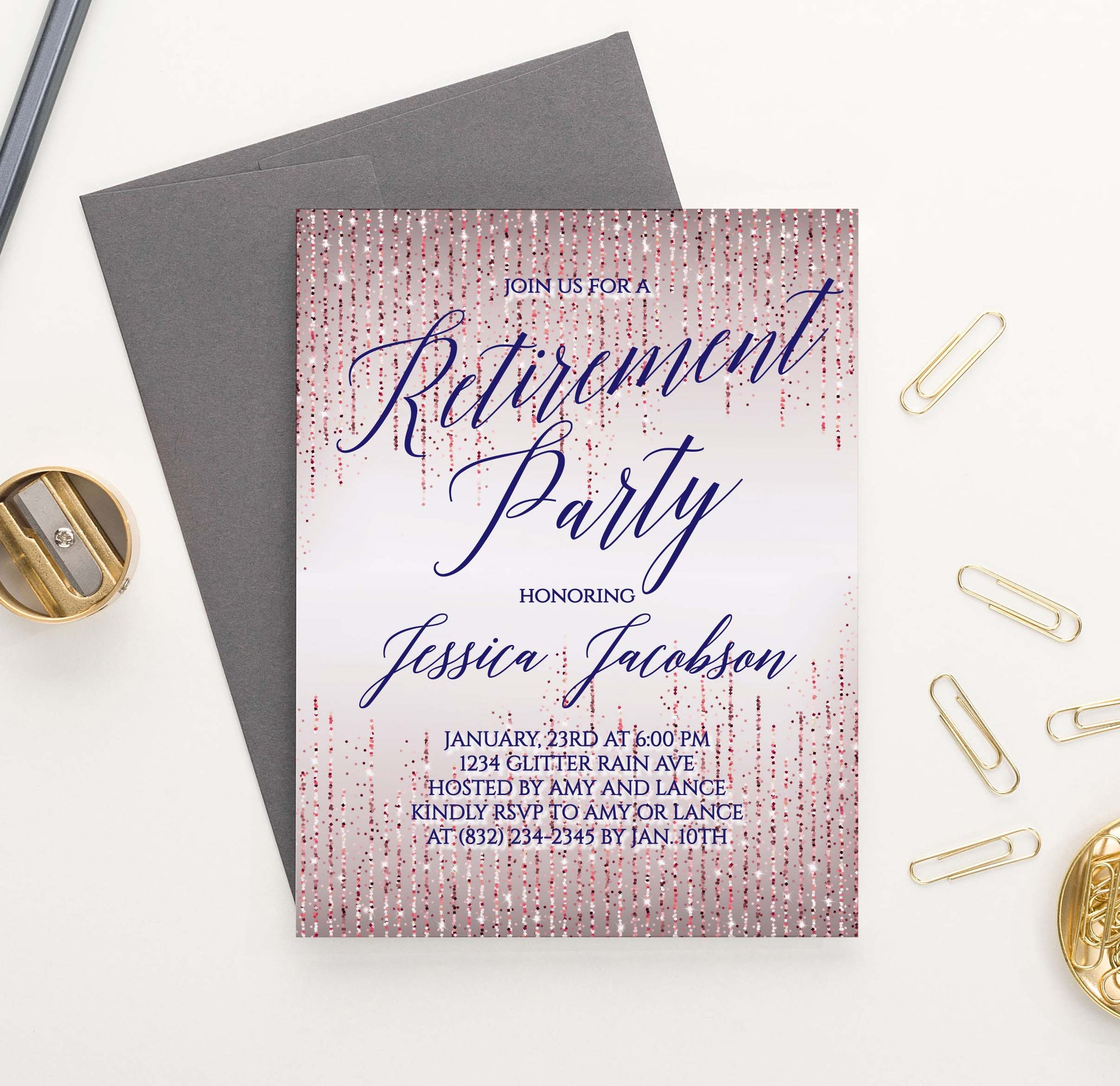RPI003 elegant rose gold retirement party invitation personalized glitter sparkle