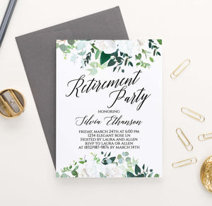 RPI005 white floral personalized retirement party invitations flowers elegant florals 1