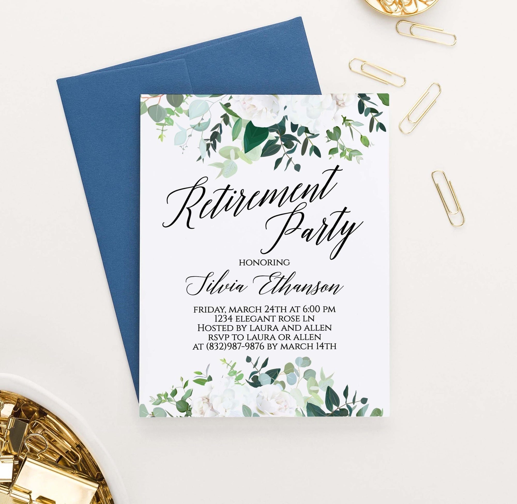 RPI005 white floral personalized retirement party invitations flowers elegant florals