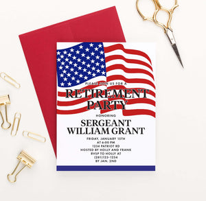 RPI022 military retirement party invitation personalized american flag 1