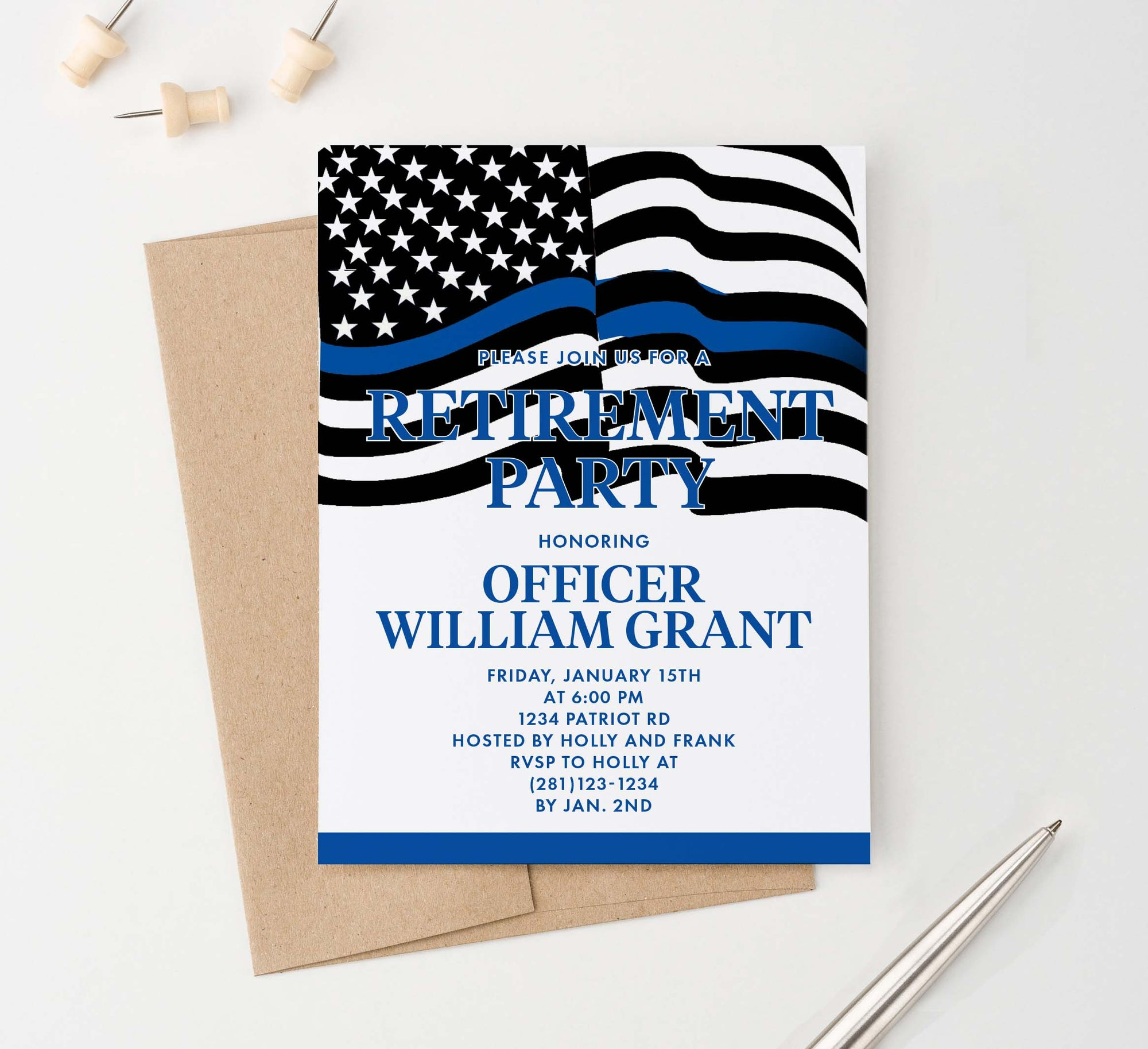 Personalized Police Retirement Party Invitations