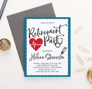 RPI024 personalized retirement party invitation for nurses and doctors medical 1