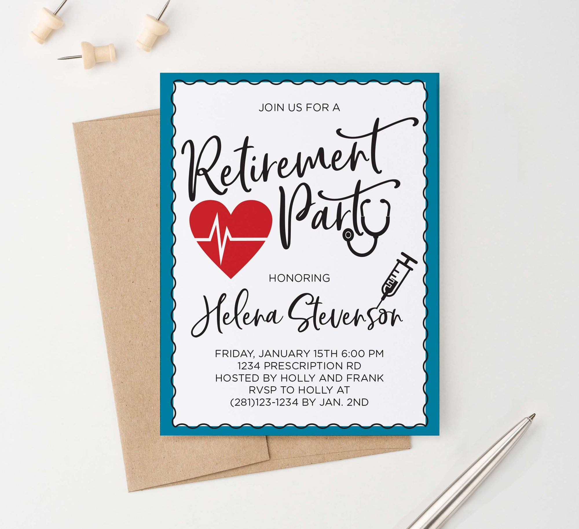 RPI024 personalized retirement party invitation for nurses and doctors medical