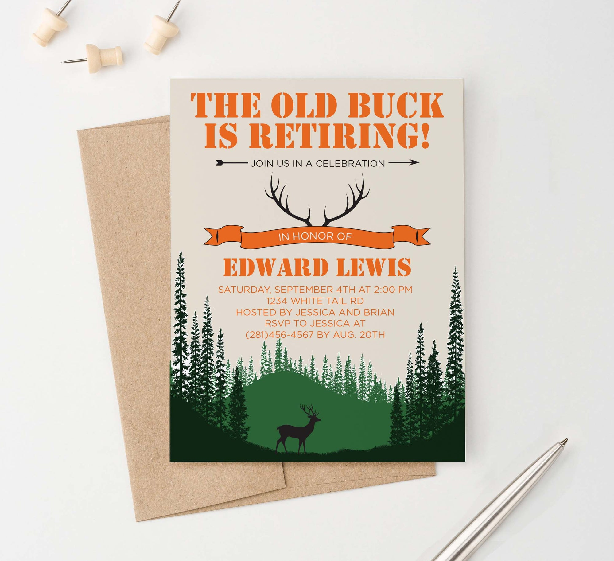 Deer Retirement Party Invitation Personalized