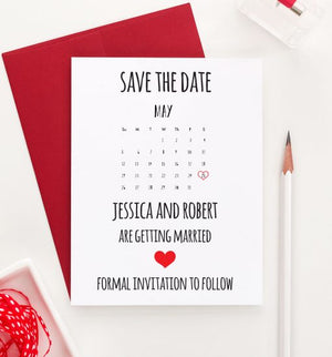 SDI004 Customized save the date calender invites for wedding heart couples announcement