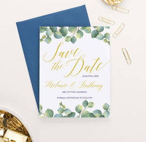 SDI035 personalized greenery save the date announcements elegant leaf gold 2