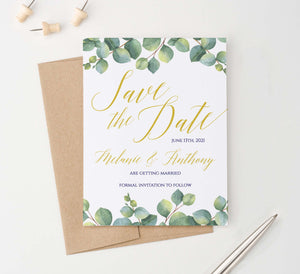 SDI035 personalized greenery save the date announcements elegant leaf gold