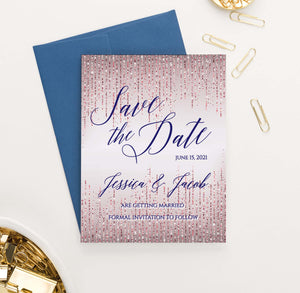 SDI045 elegant personalized rose gold glitter save the dates navy sparkles