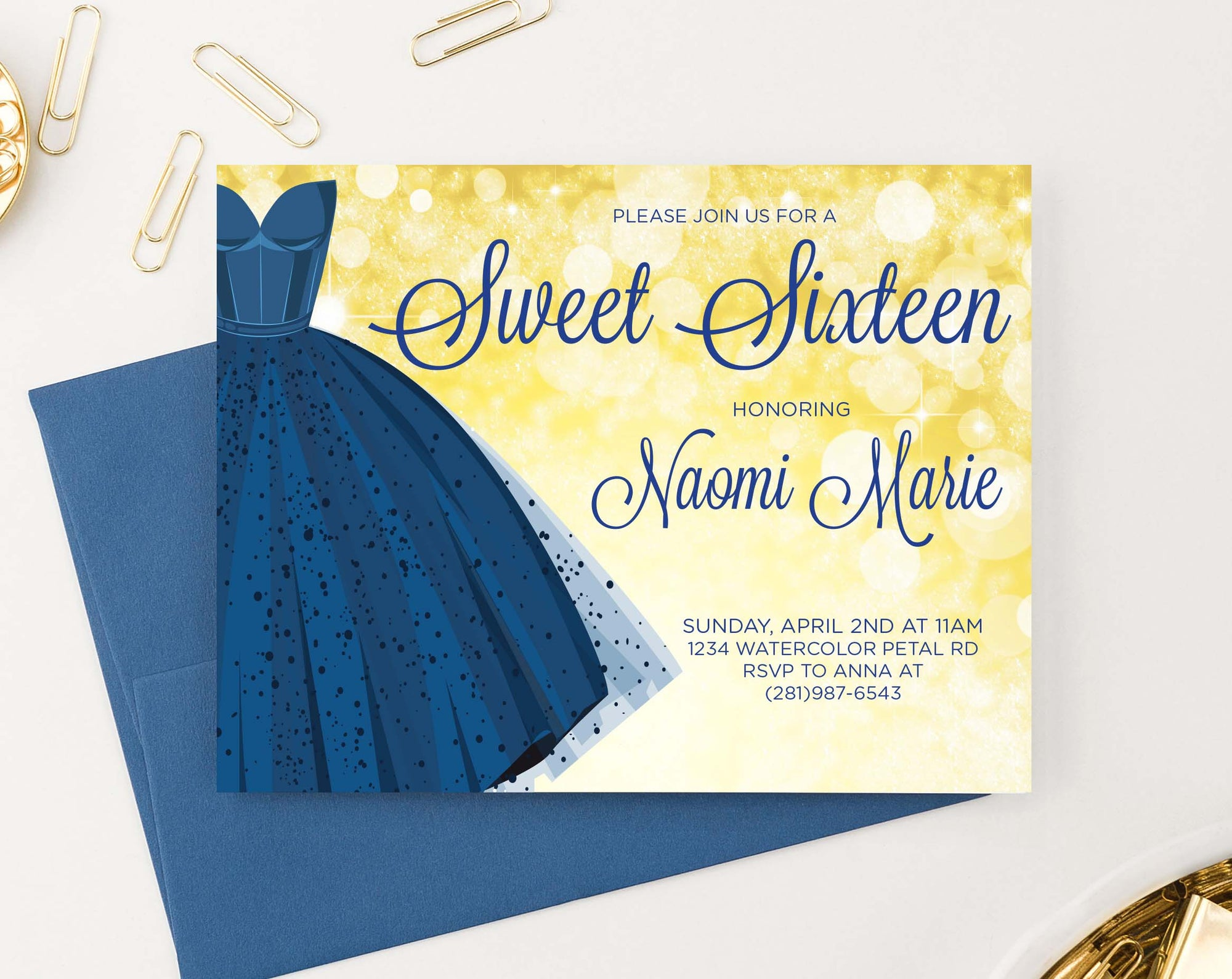 SSI003 Elegant blue dress sweet sixteen party invites personalized gold horizontal2