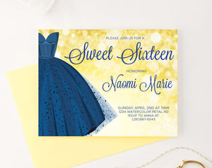 SSI003 Elegant blue dress sweet sixteen party invites personalized gold horizontal