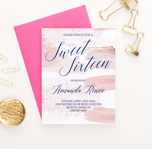 SSI017 pink watercolor sweet sixteen party invites personalized rose gold modern 2