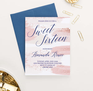 SSI017 pink watercolor sweet sixteen party invites personalized rose gold modern
