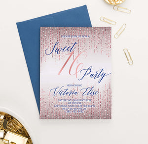 SSI018 personalized rose gold sweet sixteen party invitations glitter elegant navy 1