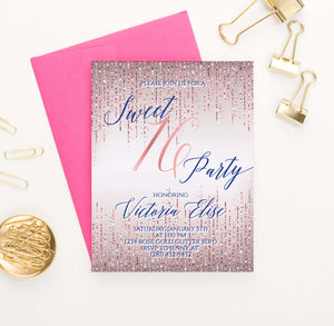 SSI018 personalized rose gold sweet sixteen party invitations glitter elegant navy