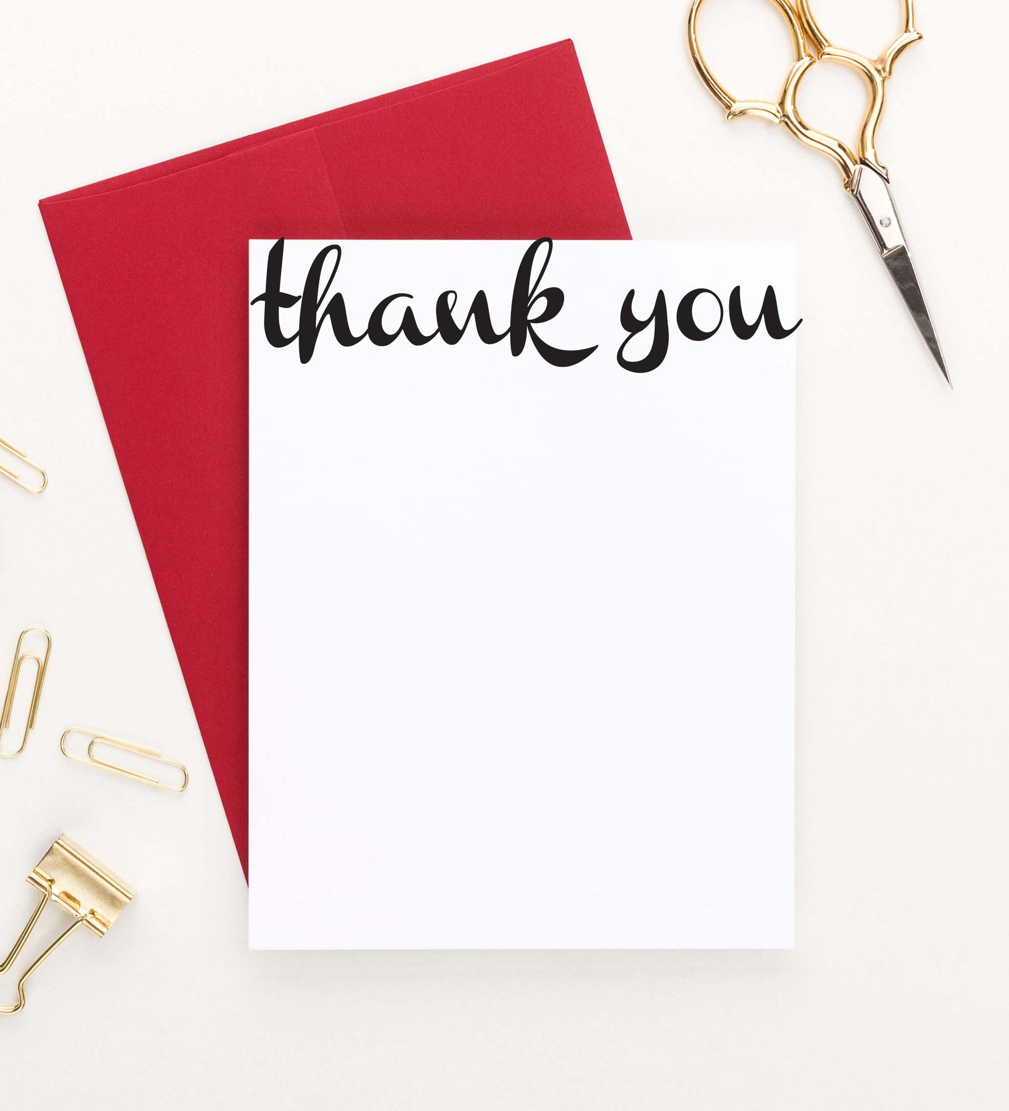 TY001 simple thank you script note cards vertical elegant
