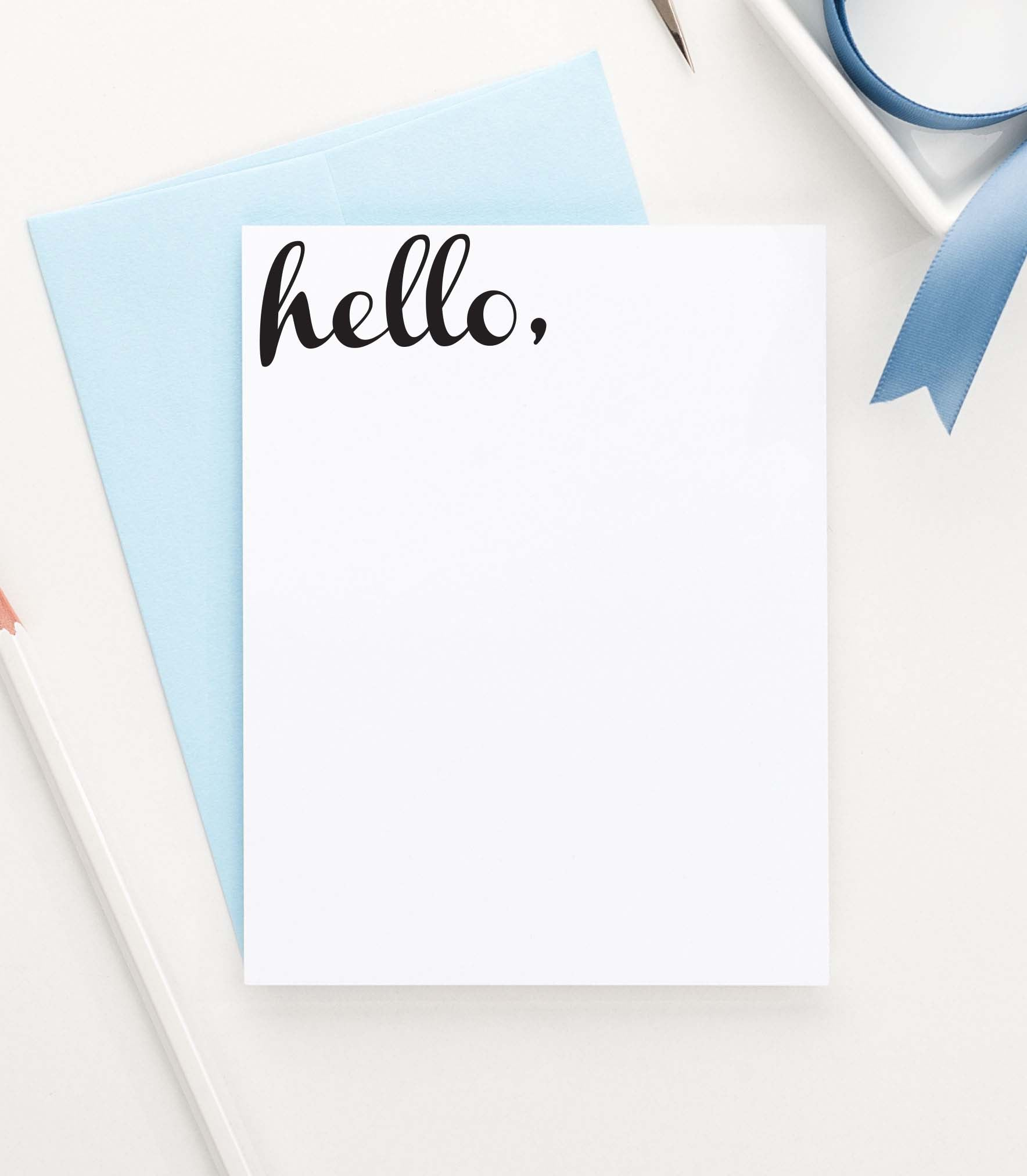 TY002 hello flat thank you notes simple vertical script font thankyou
