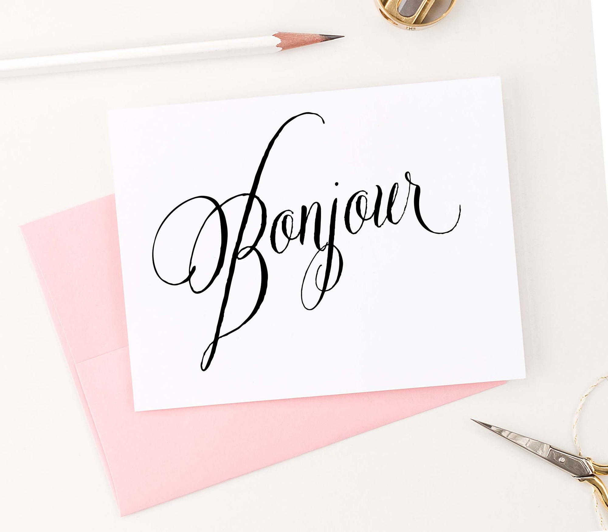 TY003 bonjour folded thank you cards elegant script simple